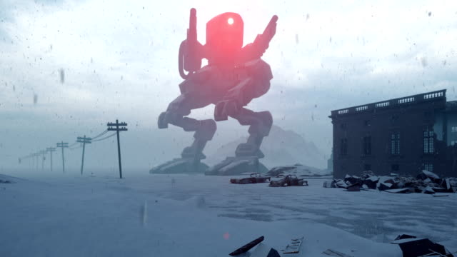 A huge military robot stands in the middle of the ruined apocalyptic city. View of the Apocalypse.