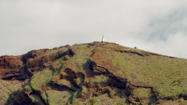 Huge monument to Jesus Christ on Madeira island, cape Ponta do Garajau video
