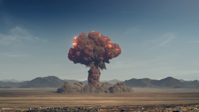 Huge nuclear bomb explosion, weapon of mass destruction