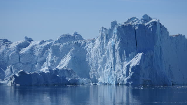 Huge piece of ice tilts during the iceberg is calving video