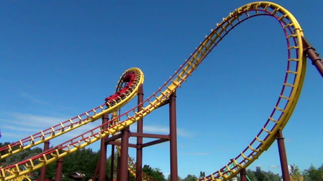 huge roller coaster turn - roller coaster stock videos & royalty-free footage