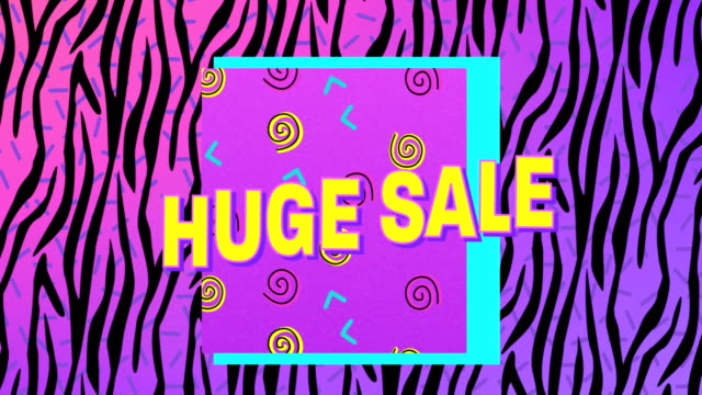 Huge sale graphic on pink and black zebra print background 4k