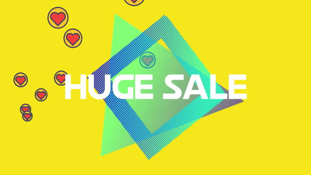 Huge Sale text on diamond shape against red hearts icons on yellow background