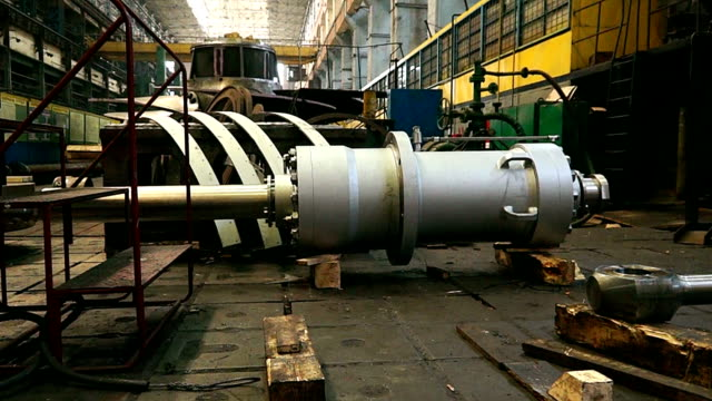 huge turbine on the factory video