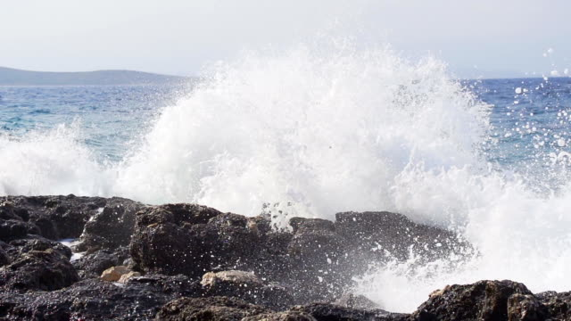 HD SUPER SLOW MO: Huge Waves Crushing At Rocks HD1080p: SUPER SLOW MOTION shot of huge waves crashing at the rocks. water's edge stock videos & royalty-free footage