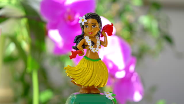 Hula Girl Doll dancing on the flowered background in 4K Slow motion 60fps
