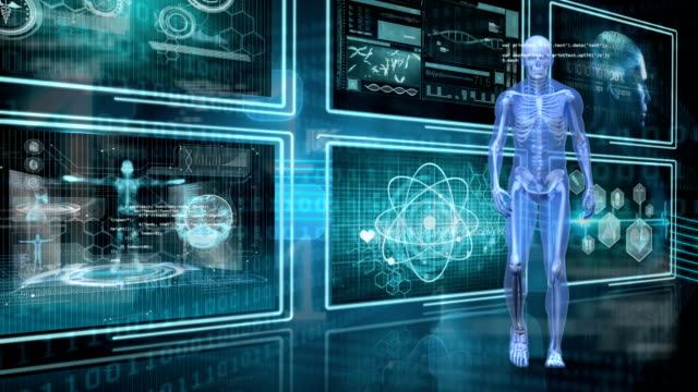 Human anatomy walking Digitally generated animation of human anatomy walking with binary codes and screens with medical images biochemistry stock videos & royalty-free footage