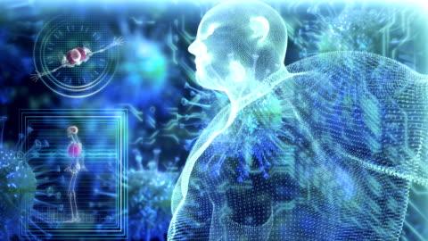 vídeos de stock e filmes b-roll de human body medical scan - corpo humano
