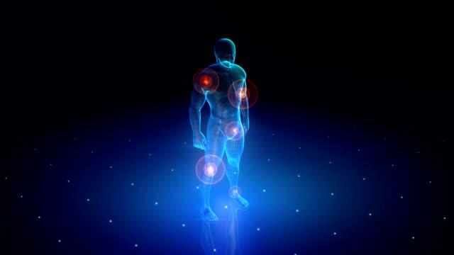 hd: human body with a visible pains - hayvan eklemi stok videoları ve detay görüntü çekimi