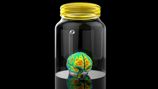 Human brain in a glass jar video