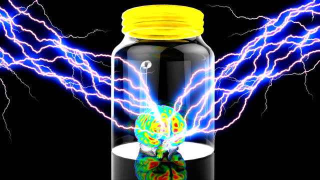 Human brain stimulation in a glass container scientific experiment video