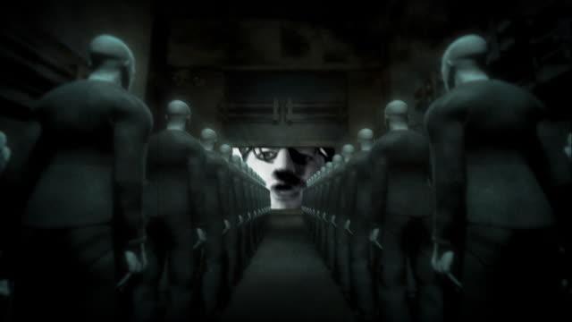 Human Cyborgs Watching Screen with Propaganda Man video