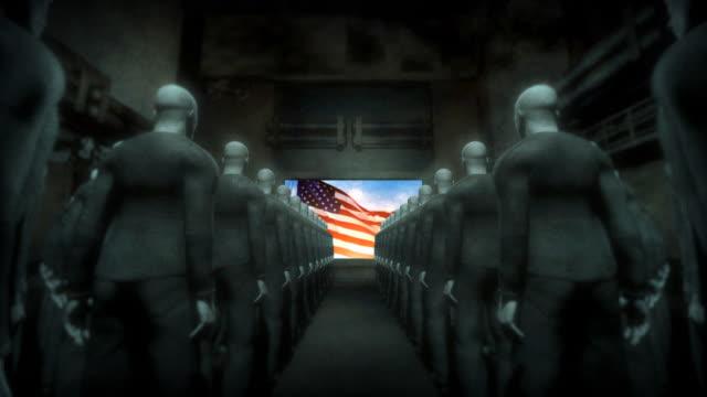menschliche cyborgs watching-bildschirm mit usa-flagge - dominanz stock-videos und b-roll-filmmaterial