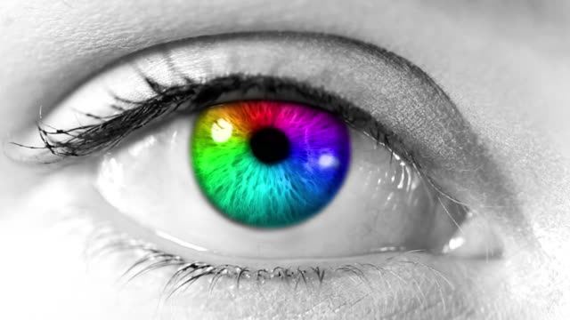 Human Eye. Multicolored and green. White/blue skin. Loopable. video