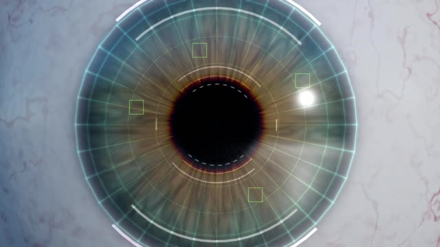 Human eye scan and recognition - 3D rendered animation. Computer vision and machine learning concept.
