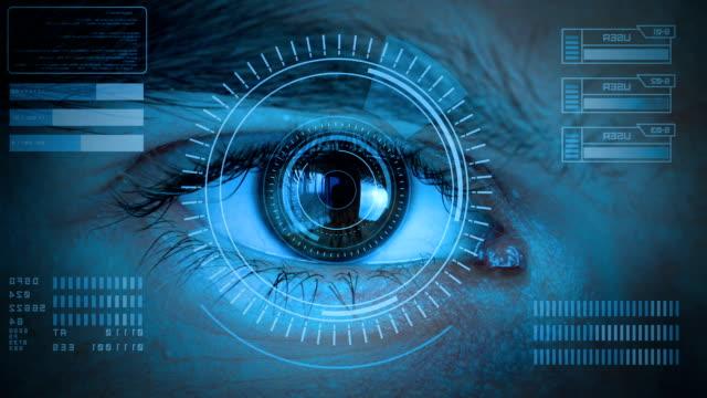 menschliches auge mit futuristischem sehsystem - augenheilkunde stock-videos und b-roll-filmmaterial