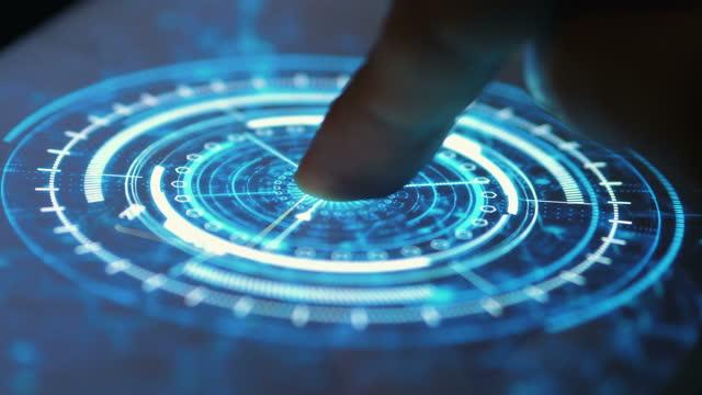vídeos de stock e filmes b-roll de human finger turns on touch futuristic screen button and activates futuristic artificial intelligence engine in 4k - empurrar atividade física