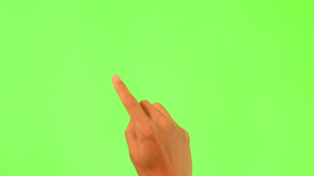 Human hand touching green Screen