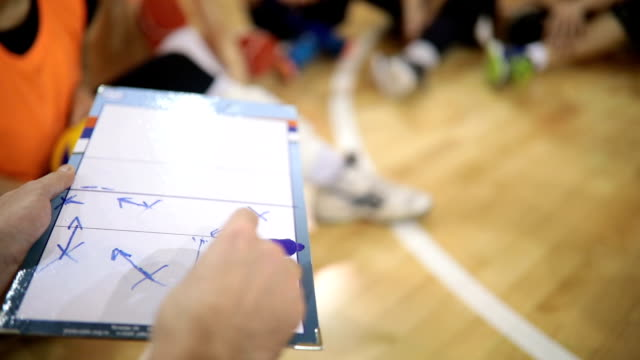 Human hand writing and cleaning sport tactic board video