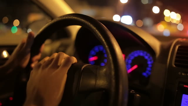 Human hands of a nervous man honking the horn in traffic. video