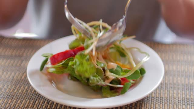 Human Hands Take a Salad , healthy food Human Hands Take a Salad , healthy food 4K(UHD) tomato salad stock videos & royalty-free footage