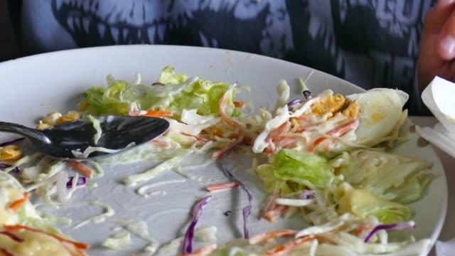 CU:Human Hands Take a Salad , healthy food Human Hands Take a Salad , healthy food tomato salad stock videos & royalty-free footage