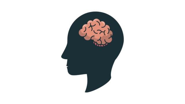 Human head silhouette with brain Human head silhouette with brain inside white background cerebellum stock videos & royalty-free footage