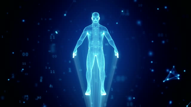 Human hologram from points and polygons in a cloud of binary code and connections Human hologram from points and polygons in a cloud of binary code and connections hologram stock videos & royalty-free footage