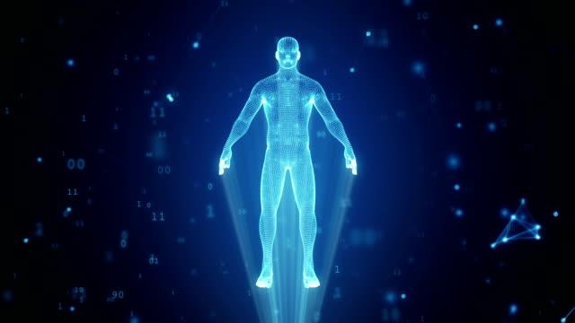 vídeos de stock, filmes e b-roll de holograma humana de pontos e polígonos em uma nuvem de código binário e conexões - holograma