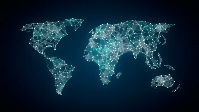 human icon connect global world map, dot makes global communication. social media network. 3. video