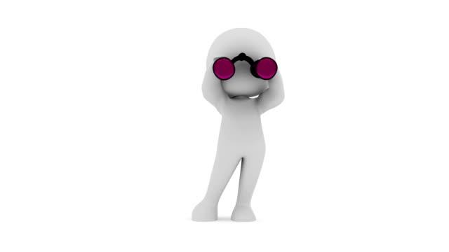 3 D humanos mirando a través de binoculares - vídeo