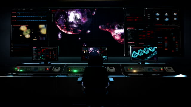 Human medical care center, main control room, Cell division 3D animation,biology.Genetic engineering in digital dashboard display. video
