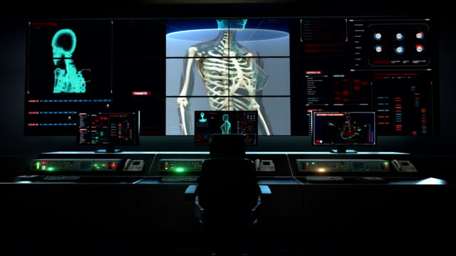 Human medical care center, main control room, Female body and scanning Human skeletal structure, bone system in digital display X-ray light. video