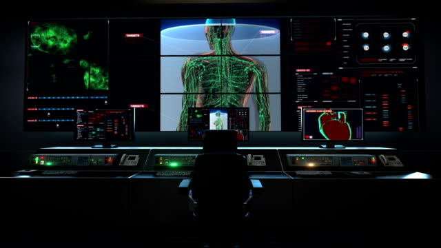 Human medical care center, main control room, Female Human body scanning lymphatic system in digital display dashboard. video