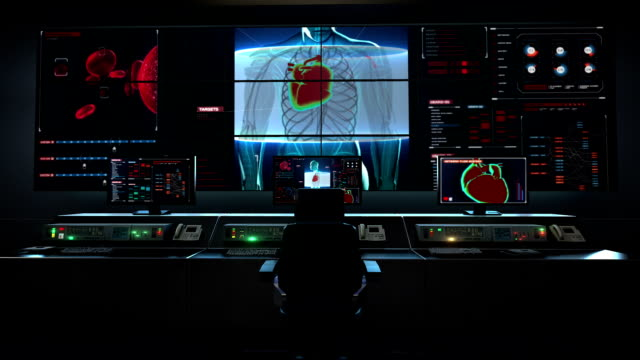 Human medical care center, main control room, front body and scanning heart. Human cardiovascular system. video