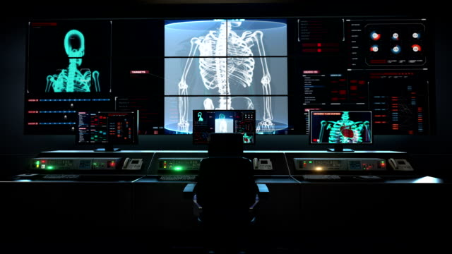 Human medical care center, main control room, Human skeletal structure, bone system in digital display. video