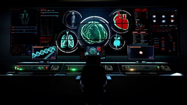 Human medical care center, main control room, humanoid, Scanning Brain in digital display dashboard. Human medical care center, main control room, humanoid, Scanning Brain in digital display dashboard. X-ray view hypothalamus stock videos & royalty-free footage