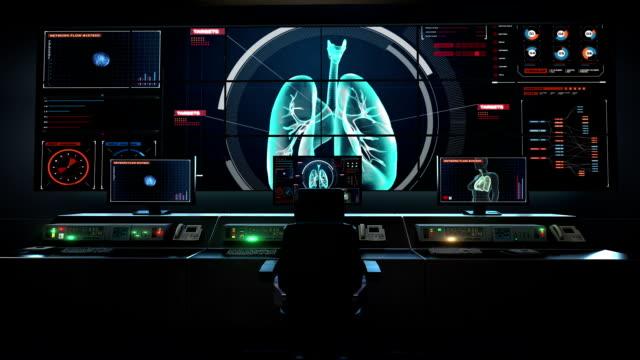 Human medical care center, main control room, Rotating Human lungs, Pulmonary Diagnostics in digital display. video