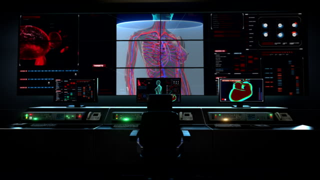 Human medical care center, main control room, Scanning blood vessel in female body in digital display. video