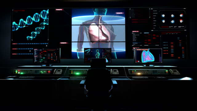 Human medical care center, main control room, Scanning body. Rotating Human Female lungs, Pulmonary Diagnostics in digital display. video