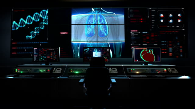 Human medical care center, main control room, Scanning body. Rotating Human lungs, Pulmonary Diagnostics in digital display. video