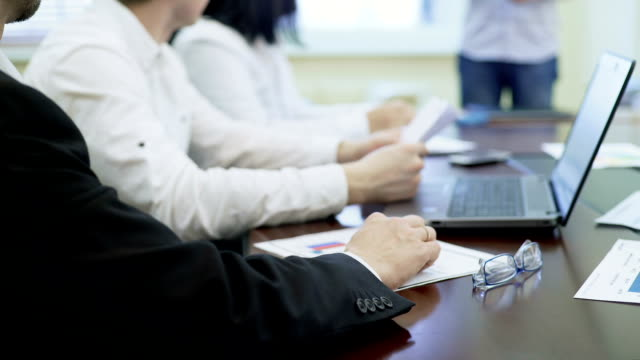 Human resources board interviewing candidate for job in company, employment video