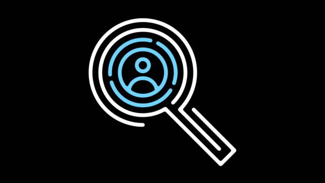 vidéos et rushes de ressources humaines ligne icône animation avec alpha - contour