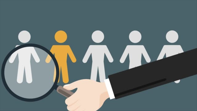Human Resources Management. Candidate selection illustration. Magnifier with people silhouettes.