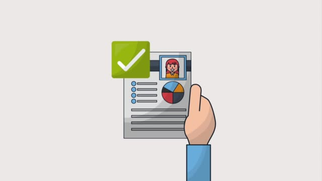 human resources people human resources hand holding curriculum check mark animation hd survey icon stock videos & royalty-free footage