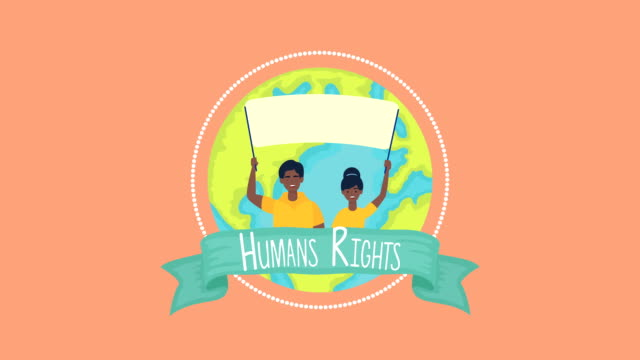 human rights animation with people protesting and planet