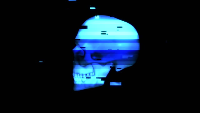 Human rotating skull in distorted glitch style on black background.