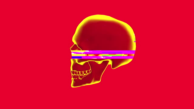 Human rotating skull in distorted glitch style on red background.