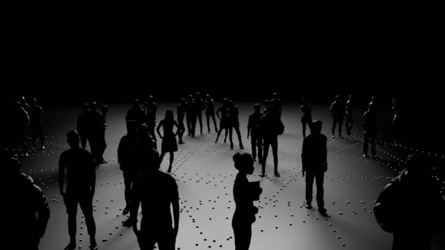 Video Human silhouettes of people connected, social networks