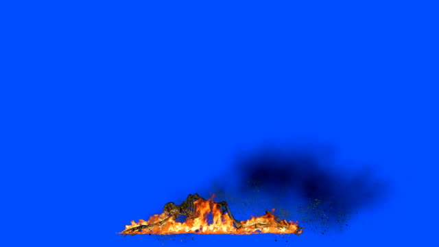 Human Skeleton Burning in Flames on a Blue Screen video